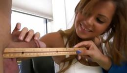 Watch two libidinous chicks measuring little cock with a ruler
