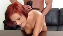 Red haired incredibly sexy bitch is going to stuff her vagina with cucumber during sex