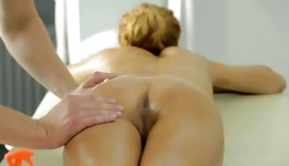 Skinny whore with small boobs getting massaged on really rough
