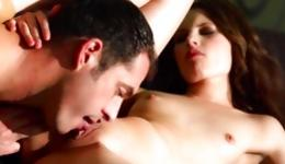 Perfect brunette is having great sex action and gets covered in jizz
