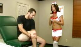 Check out this seductive and raunchy sexy nurse with a nice guy