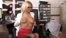 Elegant business woman forced her submissive give her pleasure by fondling her knockers