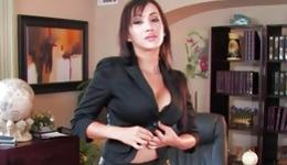 Watch on busty bitch is posing sexually while masturbating and dildoing
