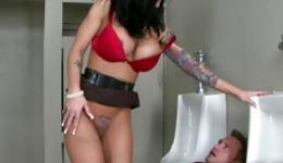 Horny bitch caught guy to have sex with him in the public toilet
