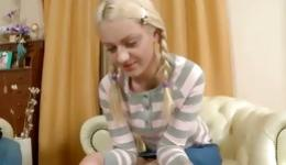 Perky blonde is on her knees getting slammed and is blowing a rod