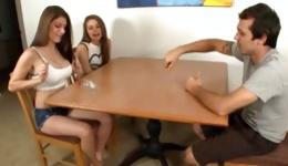 This guy was very lucky to have double handjob from two stunning girls