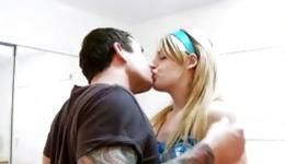 Strong, well-built man with a tattoo fucks a young blonde