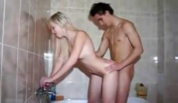 Sassy fine blonde getting tight hole drilled in the bathroom hard
